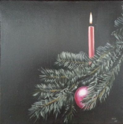 Fir with candlelight and ball