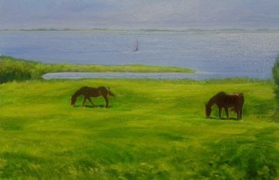Horses with sea view
