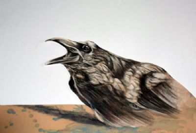 3D surreal bird..pastel on velour paper
