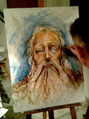 Me working on my oil painting of Odin...