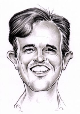 Caricature of smiling man