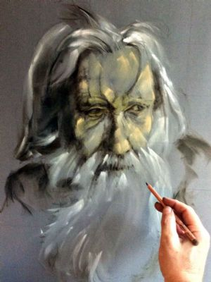 work in progress of old man (pastel)