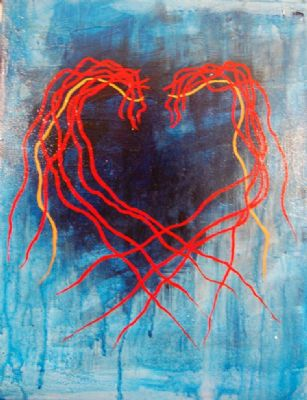 Heart in red and blue