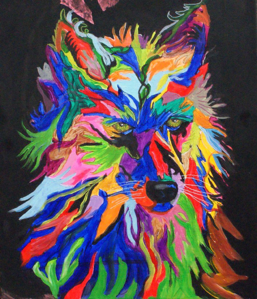Phykadelisk maleri af en ulv
