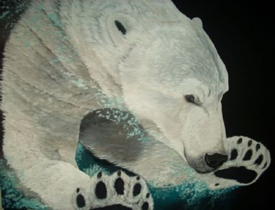 polar bear under water
