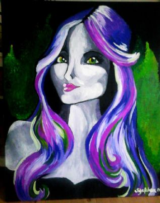The lady with purple hair